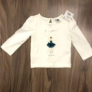 Cute Ballerina Print Long-Sleeved Shirt, SZ 6-12M